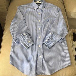 Nautical Men's button down long sleeve shirt
